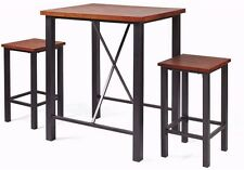 3-Piece Pub Set Table and 2 Chairs High Top Sturdy Metal Frame Wood Vintage Oak
