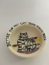 Cat dish food bowl Better One Fat Cat Than Many Mice Ceramic Pet 5 inch