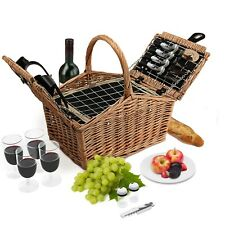 Wicker Picnic Basket Set 4 Person Double Lid Style Woven Willow Hamper | Cooler