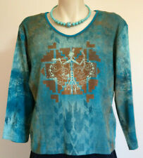 CACTUS BAY 3/4 sleeve COTTON KNIT top, greens teal brown, made in USA, size 14?