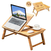"""22"""" Bamboo Folding Notebook Laptop PC Lap Bed Stand Table Desk Tray w Drawer FAN"""