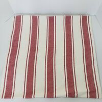 "Pottery Barn Red And White Ticking Stripe Pillow Cover 24""×24"" Country Farmhouse"
