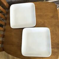 CRATE & BARREL Square White Large Appetizer Plates Set Of 2 NWT