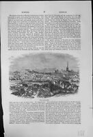 Antique Old Print City Norwich View From Distance Buildings Cathedral Spire