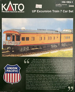 KATO N SCALE UNION PACIFIC EXCURSION TRAIN 7 CAR SET 106-086-1 with lights