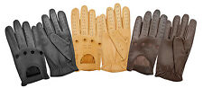 MENS CLASSIC DRIVING GLOVES LAMBSKIN LEATHER DRESS GLOVES - BLACK - BROWN - TAN