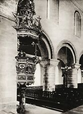1924 Original SCANDINAVIA Photo Gravure Norway Stavanger Cathedral Church Pulpit