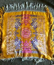 Silk Taj Mahal Piano Shawl Scarf Silk Brocade Gold Pink Purple Cream