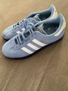 Adidas Gazelle Size U.K. 7 Light Blue White Navy  Sole Retro Terrace Trainers