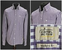 Mens Camel Active Modern Fit Shirt Long Sleeve Purple Cotton Check Pocket Size L