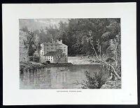 1872 Picturesque America Antique Print CottonMill Brandywine River Pennsylvania
