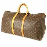 Louis Vuitton Monogram Keepall Bandouliere 55 Boston Travel Hand Bag M41414 LV