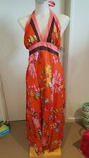 Orange Floral Dress Size M Halterneck