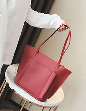 4 in 1 Korean Leather Tote Bag Set (Pink)