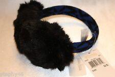 NEW! NWT! MICHAEL KORS Royal Blue Knit Black Faux Fur Ear Muffs $55