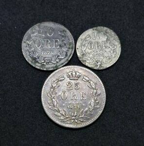 Sweden Lot Of 3 Silver Coins 10 Öre 1858 1875 And 25 Öre 1871 (10)
