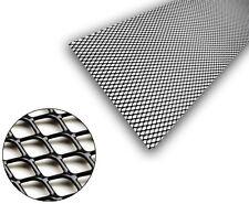 1x Black Aluminium Grille Grill Mesh Net Vent Bumper 16x10mm 100x25 DIAMOND LOOK