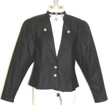 WOOL JACKET Women Austria Fitted Winter PLEATED Riding Dirndl Coat BLACK B37 6 S
