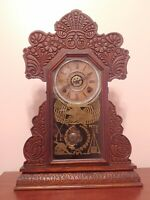 WORKS RARE Antique Civil War Carved Wood Ingraham Kitchen Parlor Mantle Clock