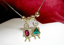 14K YELLOW GOLD BIRTHSTONE LITTLE GIRL & BOY CHILD KIDS CHARMS PENDANTS NECKLACE