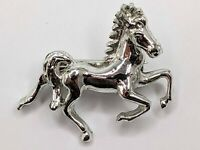 Vintage silver tone Galloping Horse Brooch