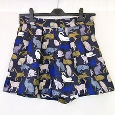 H&M Blue High Waist Quirky Cat Printed Shorts With Pockets UK Size 10-12 EU 40