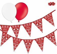 Merry Christmas Bundle Jumper Bunting Banner 15 flags & 8 Asst latex balloons
