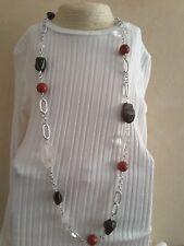 Collana donna pietre dure naturali:quarzo,calcedonio,pietra rosso corallo.Catena