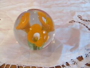 Vintage Crystal Clear Glass Paperweight Orange  Calla Lillies Flowers