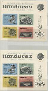 1964 HONDURAS  OLYMPIC GAMES TOKIO  N. 2 S. SHEETS   PERF/IMPERF MNH**