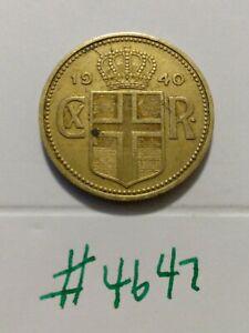 🇮🇸🇮🇸 WW2 Era 2940 Iceland 2 Kronur Coin Sharp Details 🇮🇸🇮🇸