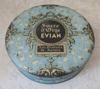 Ancienne boite métal bonbons bleu Sucre d'Orge Evian Produits de Savoie