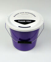 Charity Fundraising Money Collection Collecting Bucket with Lid & Label - Purple