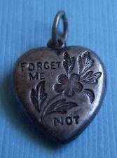 Vintage forget me not flower puffy heart sterling charm