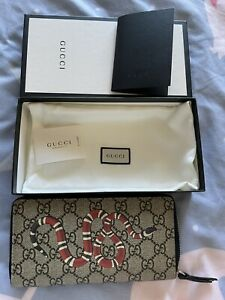 Like New Gucci Kingsnake print GG Supreme wallet Full Set With Receipt 2020