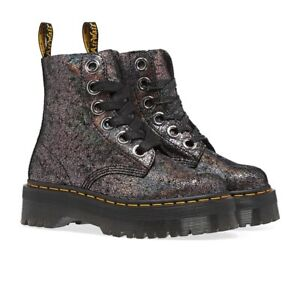 NEW Dr. Martens Molly Gunmetal Crackle Platform Boots Size US Women's 7