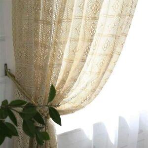 Boho Crochet Knitting Cotton Window Curtain Panel Retro Window Curtain Beige