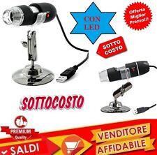 MICROSCOPIO DIGITALE USB PC NOTEBOOK FOTO VIDEO 8 LED 2.0MPX CON STAFFA CD new