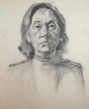 Vintage female portrait charcoal drawing