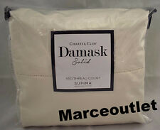Charter Club Damask Solid 550 Thread Count QUEEN Sheet Set Ivory