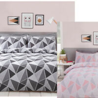 Abstract Geometric Triangle Print Duvet Quilt Cover Bedding + Pillowcases