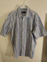 Bugatchi Uomo Men's Shirt Large Blue Floral Striped Short Sleeve Button Cotton.