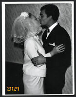young couple kissing, wedding, veil, Vintage Photograph, 1960's Hungary