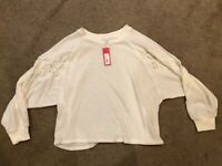 L XL M 2XL NEW CREAM SEQUIN LONG SLEEVE LEOPARD WAFFLE TOP size S