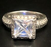 Vintage Sterling Silver Ring 925 Size 6 ESSE Signed CZ Clear Halo