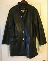 NWT Ellen Tracy Exclusively For Norstrom  Women's  Sz S Leather Zip Jacket Coat