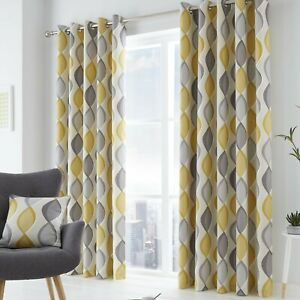 Lennox Grey & Yellow Eyelet Lined Curtains Sold & Priced per pair
