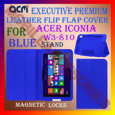 ACM-EXECUTIVE LEATHER FLIP CASE for ACER ICONIA W3-810 TABLET COVER STAND -BLUE