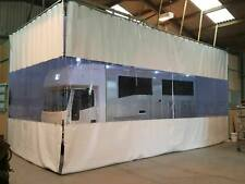 WHITE /CLEAR HORSEBOX MANUFACTUE WORKSHOP RETRACTABLE CURTAINS HEAVY DUTY TRACK