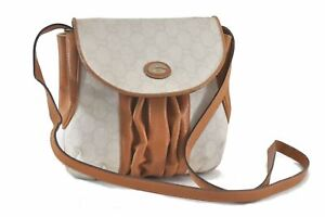 Authentic GUCCI GG Plus Shoulder Cross Body Bag PVC Leather White Brown C2089